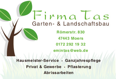 TAS Gartenbau Landschaftsbau Moers  Visitenkarte